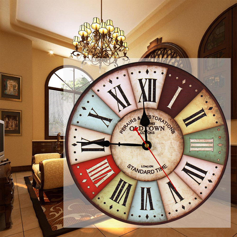 horloge murale vintage multicolore d coindustriel. Black Bedroom Furniture Sets. Home Design Ideas