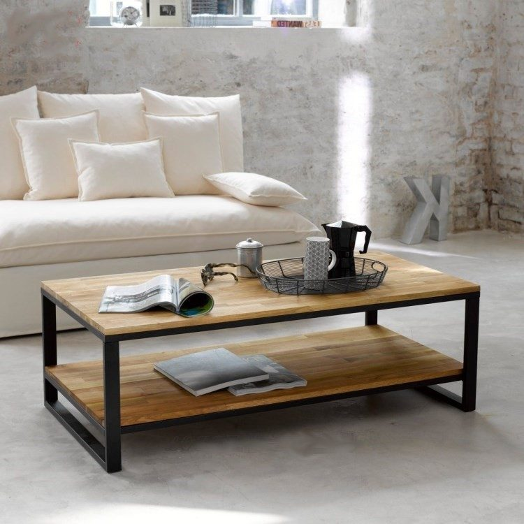 table basse rectangulaire bois r tro d coindustriel. Black Bedroom Furniture Sets. Home Design Ideas