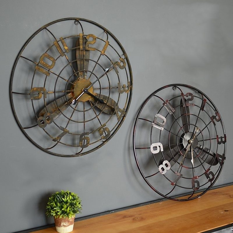 horloge ventilateur style loft industriel d coindustriel. Black Bedroom Furniture Sets. Home Design Ideas