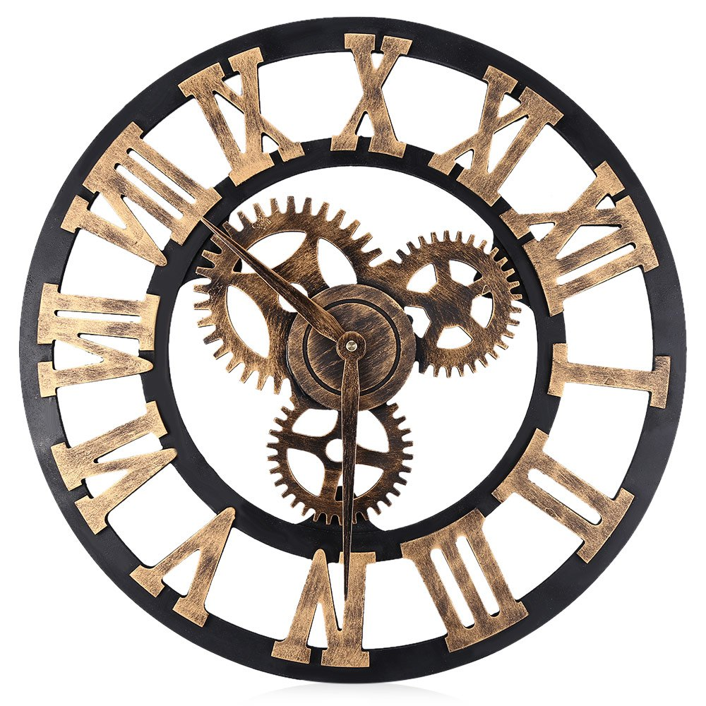 horloge murale 3d en bois style vintage chiffres romains d coindustriel. Black Bedroom Furniture Sets. Home Design Ideas